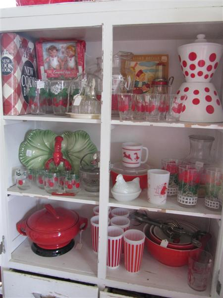 ... Nice Red Pyrex Left Over Dish. The Bottom Shelf Has A Hall U201csundialu201d  Pattern Covered Casserole Dish And There Are Some Hazel Atlas Striped  Tumblers Too.